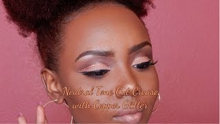 Neutral Tone Cut Crease with Copper Glitter