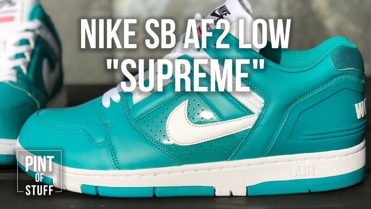 ca5116c8a743 Supreme x Nike SB Air Force 2 Low  New Emerald  Sneaker Unboxing ...