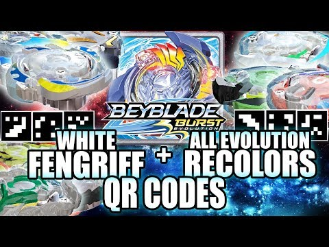 QR CODES WHITE FENGRIFF + ALL EVOLUTION RECOLORS (DUAL LAYERS) - BEYBLADE BURST APP QR CODES