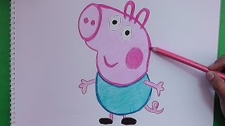 Dibujando y pintando a Jorge (Peppa Pig) - Drawing and painting George Pig