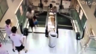 shocking escalator accident in china
