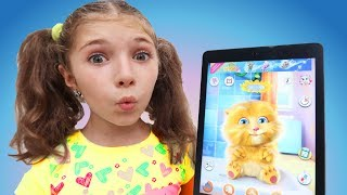 Funny Cat eats Breakfast and Plays with Ayla for Kids Talking Cat Ginger by Jumboo Kuds