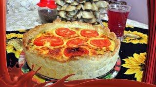 Киш с грибами и шпинатом /// Закусочный торт-пирог.