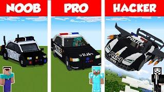 Minecraft NOOB vs PRO vs HACKER: POLICE CAR HOUSE BUILD CHALLENGE in Minecraft / Animation