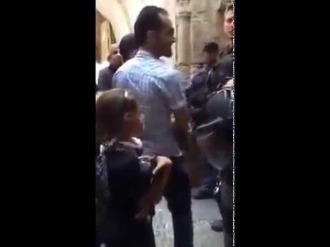 Brave little Palestinian girl vs an Israeli soldier in Jerusalem \ Palestine .