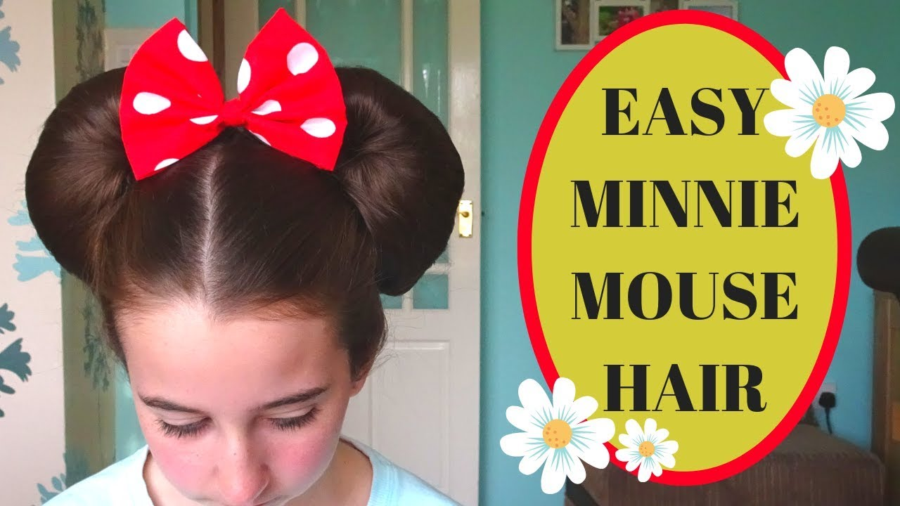 easy minnie mouse ears hairstyle (using donuts) halloween hairstyles disney