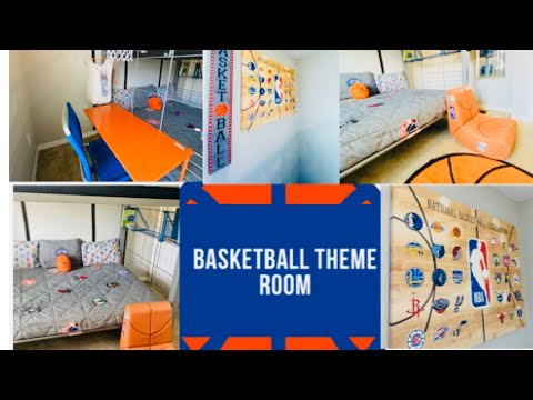 CLEAN & DECORATE WITH ME!!//BOYS BEDROOM!!//🏀NBA BASKETBALL DECOR🏀