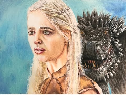 Game of Thrones: Daenerys and her dragon speed drawing