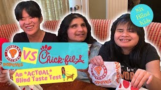 SixBlindKids - Popeyes Chicken Sandwich VS Chick Fil A - *ACTUAL* Blind Taste Test Challenge!
