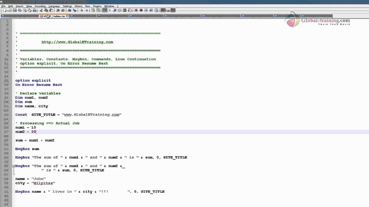 VB Scripting - Variables & Constants