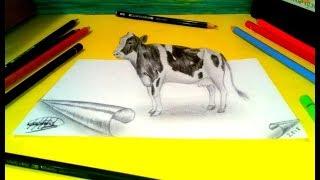 Dibujo 3D  de una vaca ( Ilusión óptica) | 3D drawing of a cow (Optical illusion)