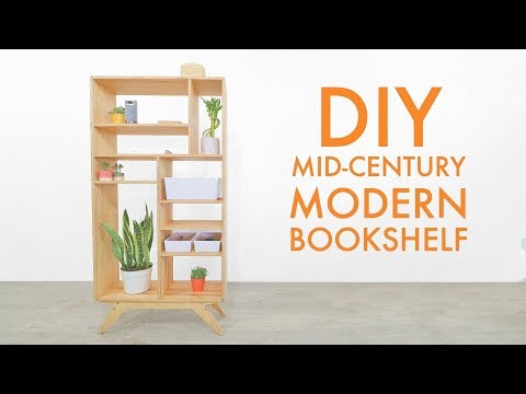 DIY Mid-Century Modern Plywood Bookcase / Shelf. FREE PLANS