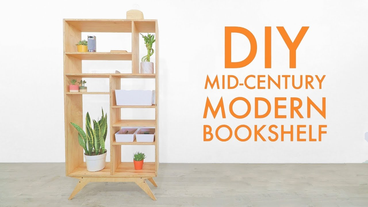 Diy Mid Century Modern Plywood Bookcase Shelf Free Plans Youtube