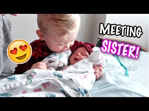 CUTE TODDLER MEETS NEW BABY SISTER! Second Child - Hospital Birth Vlog Follow Up