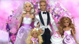 Барби и Кен СВАДЬБА Вечеринка Танцы Поцелуй Игрушки Куклы для девочек