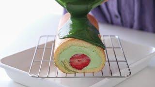 いちごと抹茶のロールケーキの作り方 Strawberry & Matcha Swiss Roll Cake|HidaMari Cooking