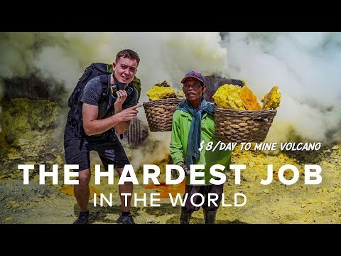 World's Hardest Job $8/Day To Mine Volcano