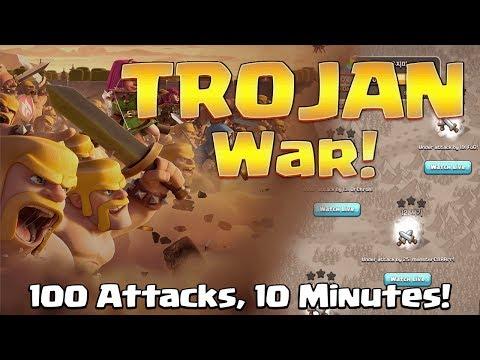 Trojan War: 100 Attacks in last 10 Minutes | Clan Fun War | Clash of Clans