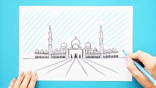 How to draw and color Sheikh Zayed Grand Mosque, Dubai