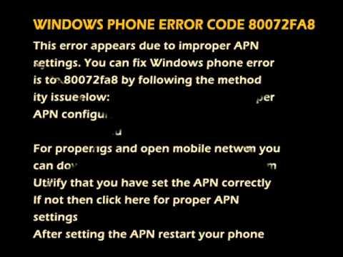 WINDOWS PHONE ERROR CODE 80072FA8