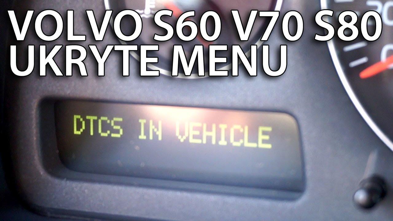 Ukryte menu diagnostyczne Volvo S60 V70 XC70 S80 XC90 (DTC, tryb serwisowy) - YouTube