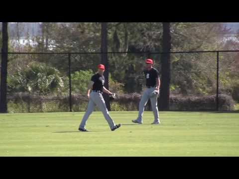 2017 Tigers Spring Training - JaCoby Jones does outfield drills