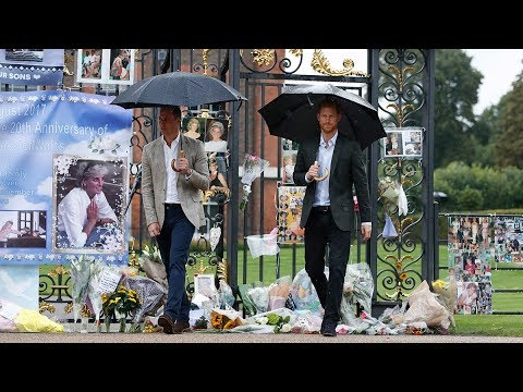 Daniele Hamamdjian reports from outside Kensington Palace​ where Prince William and Prince Harry​ visited a memorial for Princess Diana​
