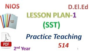 LESSON PLAN No. 1 ( SST) Social Science Practice Teaching 514....