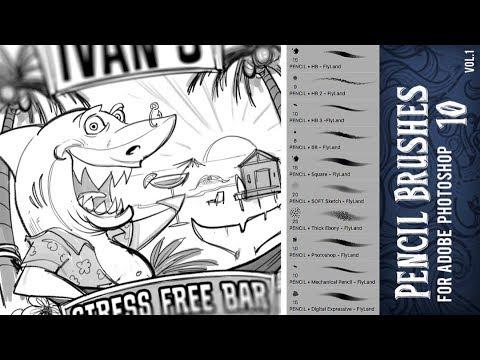 Adobe Photoshop Brushes Vol 1 - 10 Pencil Brushes