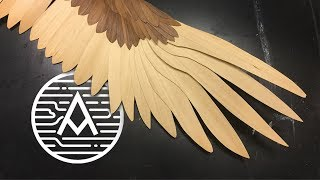 Wood Veneer Golden Eagle Wing -- Sculpture
