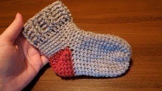 Простые носки крючком (пятка оформляется в конце вязания)(Эти носочки можно вязать как от мыска, так и от голенища. В уроке рассмотрен способ от мыска. Довольно легкий..., 2014-03-23T14:45:05.000Z)