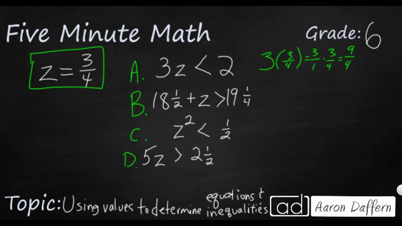 6th Grade Math - Determining Validity of Equations and Inequalities