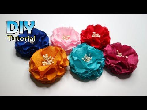 DIY    How to make fabric flower   Cara membuat bunga loly   Dari kain   Bros handmade