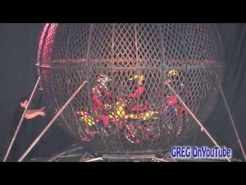 Motorcycle Globe of Death , INSANE 3 motorcycle stunt!