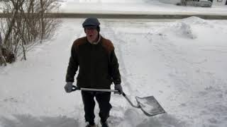 A 71-year old man's method of shoveling snow from a driveway - Amazing!