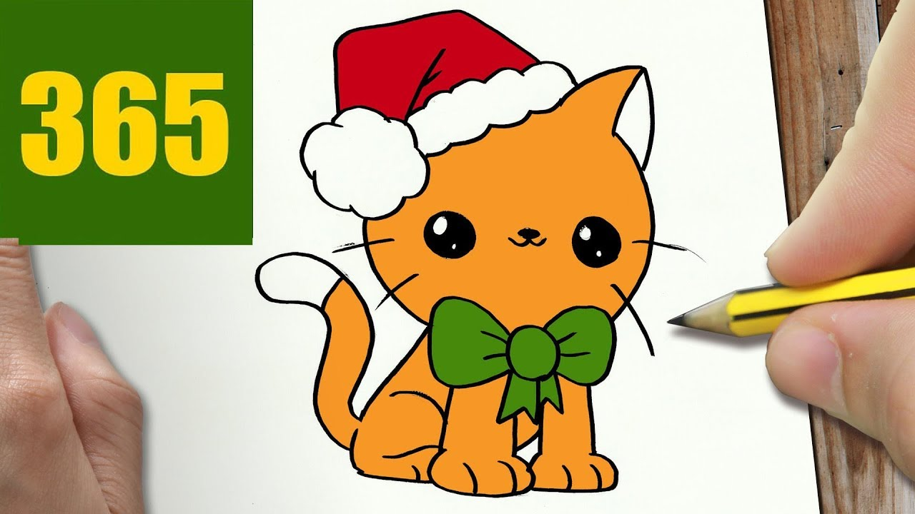 HOW TO DRAW A CHRISTMAS CAT CUTE, Easy step by step ...