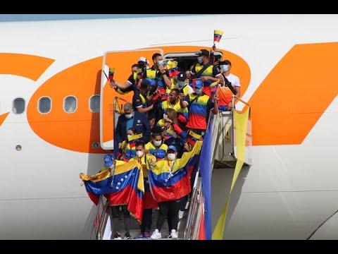 Atletas venezolanos regresan de los Juegos Olímpicos de Tokio 2020 en Maiquetía, 10 agosto 2021