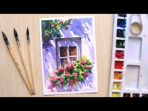 Watercolor painting for beginners beautiful flower tree and simple window