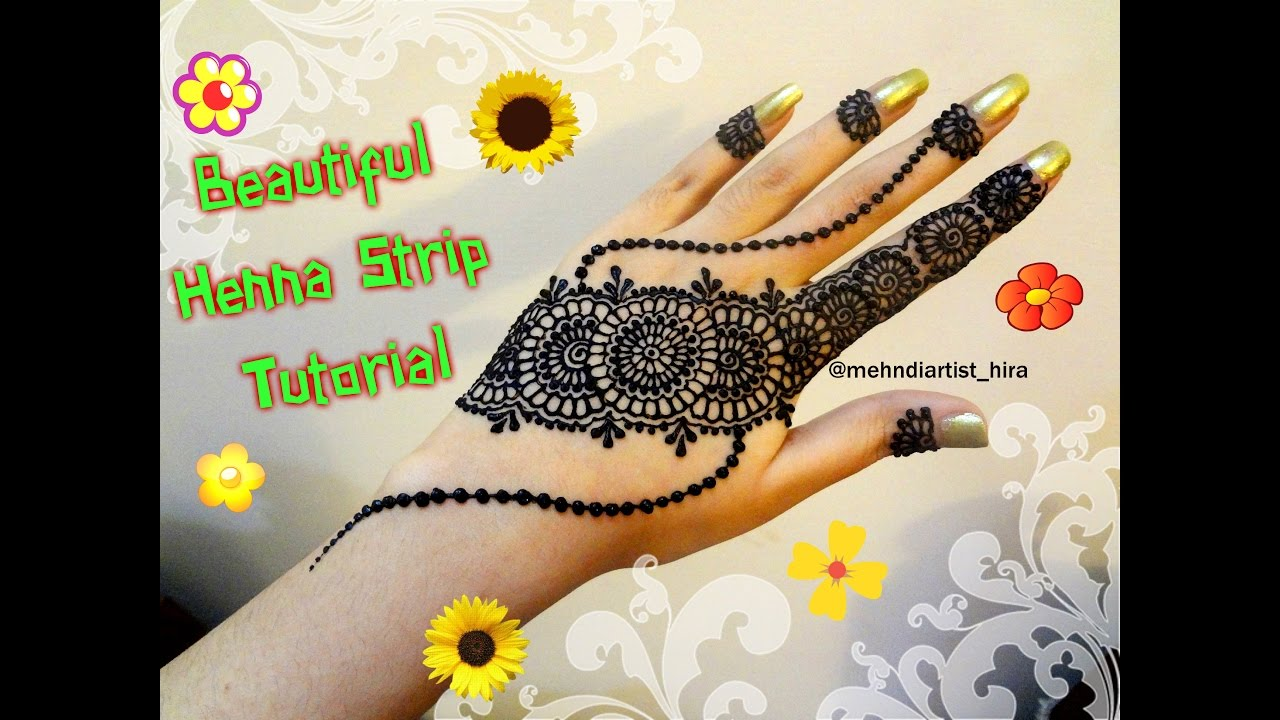 Mehndi design 2017 eid - How To Apply Easy Simple Henna Mehndi Designs Strip Bail For Hands Tutorial For Beginners Eid
