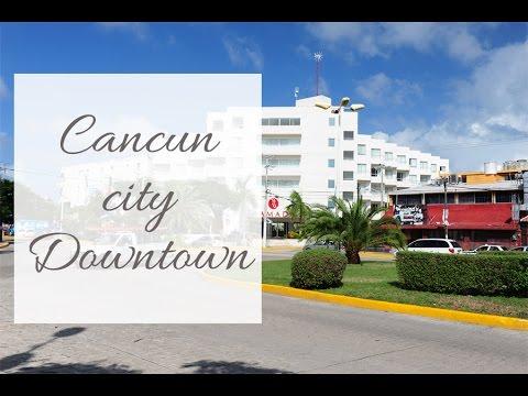 Cancun city downtown. ADO bus station, Cancun streets.