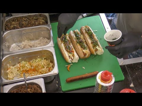 Ukraine Street Food. Sausages and Hot Dog in Kiev