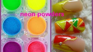 Neon pigment powder sample nail art