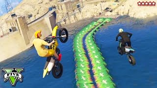 GTA 5 MOTOCROSS OFFROADING EXTREME!! Canyon Bike Stunt Trial & Epic 1620 Dam! GTA 5 Funny Moments