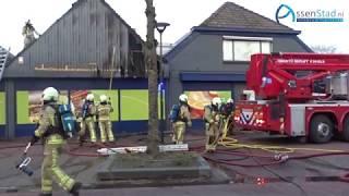 Grote brand bij supermarkt in Rolde