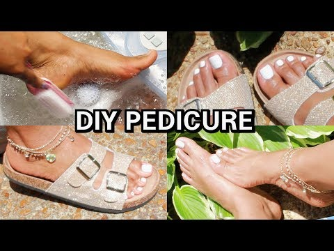 How To: DIY PEDICURE + WHITE NAILS (Soft Feet) 2018
