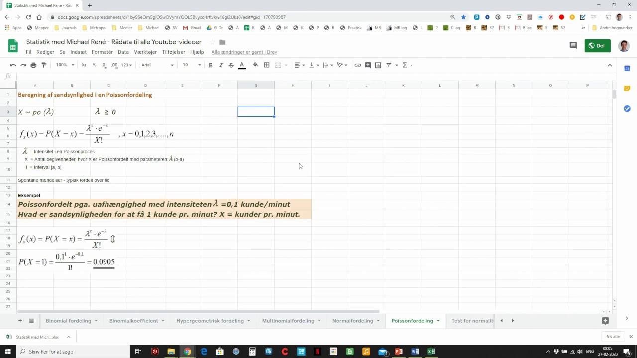 Poissonfordeling, sandsynlighed i en Poisson fordeling - Statistik med Michael René