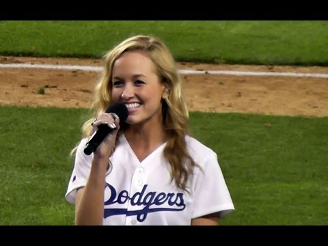 Kelley Jakle Sings God Bless America at Dodger Stadium  GreatGranddaughter of Branch Rickey