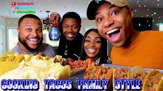 Darius cooks tacos for the family.