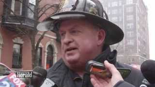 9 Alarm Fire 298 Beacon St. Boston Firefighters Injured