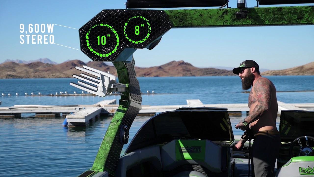 Pair New Pyle PLMRB85 8/'/' 300 Watt Two-Way Black Wake Board Marine Boat Speakers